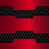 Black and red metal background. Red Chrome. Metal grid. Honeycomb background. Vector illustration Stock Photos
