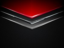Black and red metal background. Vector metallic banner. Abstract technology background. EPS10 Royalty Free Stock Photos