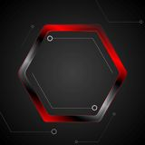 Black and red metal hexagon tech drawing Royalty Free Stock Images