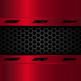 Black and red metallic background. Geometric pattern of hexagons with red metal plates. Vector Illustration. Stock Photography