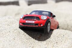 Black and Red Mini Cooper Scale Model Royalty Free Stock Image