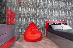 Black and red modern bedroom Royalty Free Stock Photography