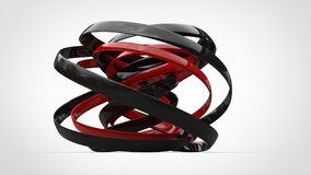 Black and red modern 3D abstract art. In studio Stock Photos