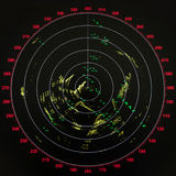 Black and red modern ship radar screen. With round map Stock Image