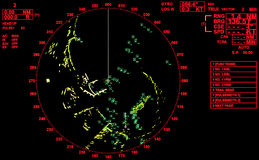 Black and red modern ship radar screen. With round map and standard text labels Royalty Free Stock Photos