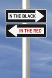 In the Black or Red. Modified one way signs indicating  In The Black and In the Red Royalty Free Stock Photos