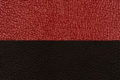 Black and red natural leather texture closeup. Stock Images