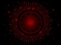 Black and red  New Year clock Stock Photography
