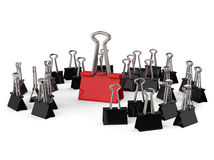 Black and Red Office Clips Row Royalty Free Stock Photography