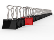 Black and Red Office Clips Row Royalty Free Stock Photos
