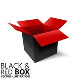 Black and red open box 3D/  illustration. Design element Stock Image