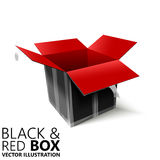 Black and red open box 3D/  illustration. Design element Stock Photo