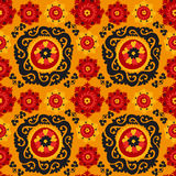Black, red and orange traditional asian carpet Royalty Free Stock Photo