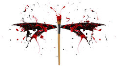 Black and red paint splash made dragonfly. Black and red paint splash made conceptual dragonfly vector illustration
