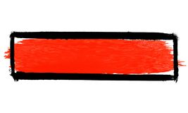 Black and red painted banner. Brush texture banner: Black hand painted box with red texture vector illustration
