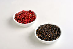 Black and red pepper Stock Images
