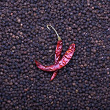 Black and red pepper Royalty Free Stock Photography