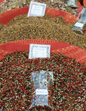 Black and red pepper mixture. Mixture of black, red, green and white pepper at the maket in French market Stock Photography