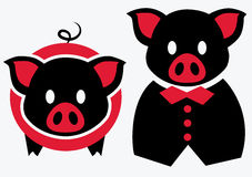 Black red pigs illustration. Black red pigs theme illustration Royalty Free Stock Image