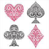Black and red playing card ornamental. Vector set of hand drawn suit black and red playing card with decorative ornament. objects on white background Stock Illustration