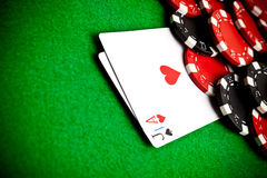 Black and red poker chips Stock Photo