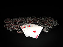 Black and red poker chips and cards. Ten to ace isolated on black background Stock Photo