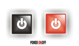 Black/Red Power ON/OFF Button. Cool Black and Red Power ON/OFF Button surrounded with white background Royalty Free Illustration