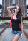 Black and  Red Railroad Theme Shoot Royalty Free Stock Images