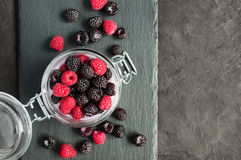 Black and red raspberries in glass jar Stock Photos