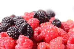 Black and red raspberries in wooden small box on the background Stock Photography