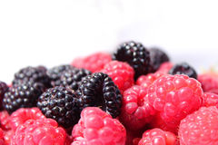 Black and red raspberries in wooden small box on the background Royalty Free Stock Photos