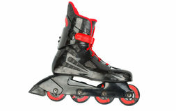 Black with red rollerskates isolated. Royalty Free Stock Image
