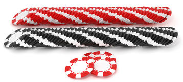Black and red roulette chip rows Stock Image
