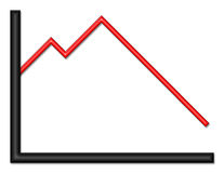 Black and Red Shiny Graph Heading Down. Black and red shiny graph with downward trend stock illustration