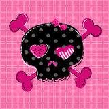 Black and red skull. Cute aggressive girlish black and red skull on pink background Royalty Free Stock Image