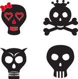 Black and Red Skulls. Isolated black, white and red skulls, skulls with crown, skull with bones, skull with red bow, human parts, body parts Stock Photo