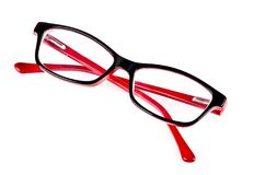 Black and red spectacles eyeglasses stock images
