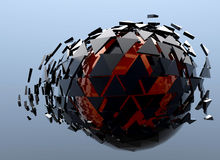 Black and Red Sphere Shattered Abstract 3d isolated. On background Royalty Free Stock Photo