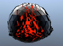 Black and Red Sphere Shattered Abstract 3d isolated. On background Royalty Free Stock Image