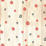 Black and red spiral on wood texture seamless pattern. Black and red line circles on white background. Geometric round royalty free stock image