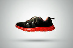 Black & Red Sports Jogging Shoe Isolated On White Background Stock Images