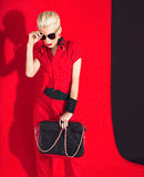 Black and red style fashion lady Stock Photos