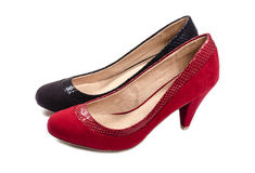 Black and Red Suede Pumps  on White #4 Royalty Free Stock Photos