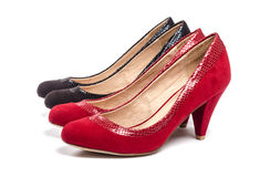 Black and Red Suede Pumps  on White #1 Stock Images