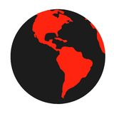 Black & red symbol of Earth planet. Isolated. Stock Photos
