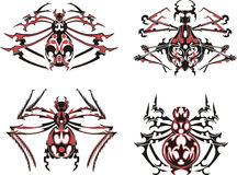Black and red symmetric spider tattoos Stock Photography