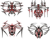 Black and red symmetric spider tattoos. Vector Illustration EPS8 Stock Photo