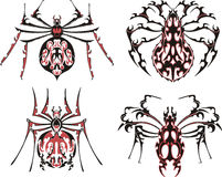 Black and red symmetric spider tattoos. Vector Illustration EPS8 Royalty Free Stock Photos