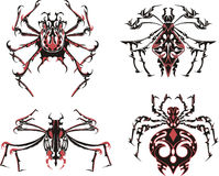 Black and red symmetric spider tattoos. Vector Illustration EPS8 Stock Image