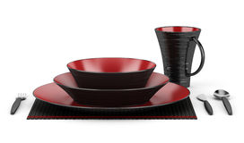 Black and red table setting with cup isolated on white Stock Images